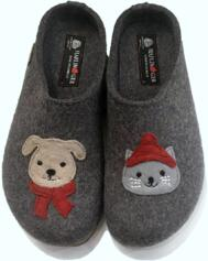HAFLINGER PAPAI CLOGS WOMEN'S SLIPPERS GRIZZLY GREY CAT DOG