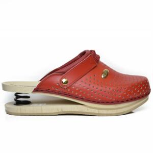BALDO WOMEN CLOGS SHOCK ABSORBER RED CLASSIC MODEL WITH WOOD SOLE