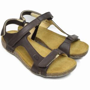 LOINTS OF HOLLAND WOMEN'S SANDALS FLORIDA DOUBLE STRAP DARK BROWN