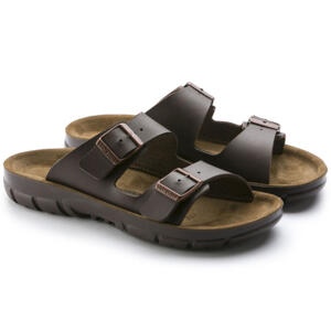 BIRKENSTOCK BILBAO WOMEN'S FLIP FLOPS  DOUBLE BUCKLE BROWN