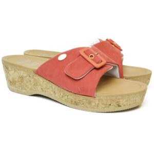 DR. SCHOLL WOMEN'S CLOG WITH WEDGE HEEL IN REAL CORK WAPPY CORAL