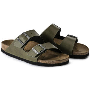 BIRKENSTOCK ARIZONA WOMEN'S FLIP FLOPS PULL UP OLIVE VEG