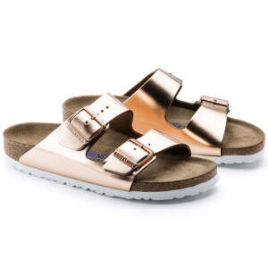 BIRKENSTOCK ARIZONA METALLIC COPPER LEATHER WOMEN'S FLIP FLOPS SOFT FOOTBED