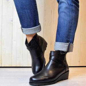 SCHOLL WOMEN'S ANKLE BOOTS PEYTON HIGH QUALITY LEATHER BLACK