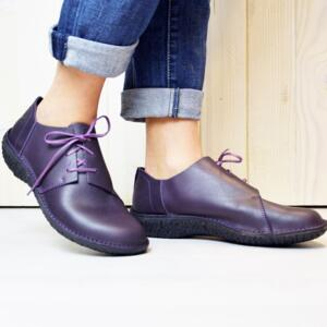 LOINTS OF HOLLAND WOMEN'S COMFORTABLE SHOES WITH LACES FUSION VIOLET NATURAL LEATHER