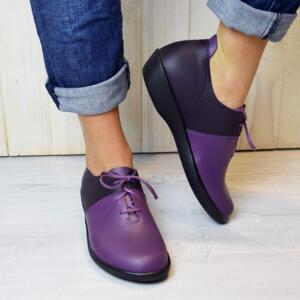 LOINTS OF HOLLAND WOMEN'S SHOES WITH LACES ACTIVE PURPLE/VIOLET  NATURAL LEATHER