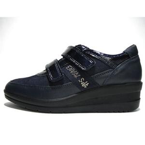ENVAL SOFT WOMEN'S COMFORTABLE SHOES WITH STRAPS NAVY BLUE POLISH LEATHER