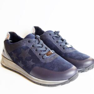 ARA OSAKA BLUE WOMEN'S SNEAKER WITH LACES REAL LEATHER BLUE WITH STARS
