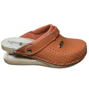 BALDO WOMEN'S CLOGS ORANGE FLEX SOLE LEATHER INSOLE