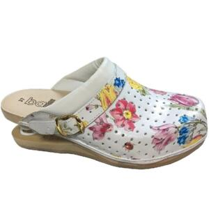 BALDO WOMEN'S CLOGS 21/13 FLOWERY FLEX SOLE LEATHER INSOLE