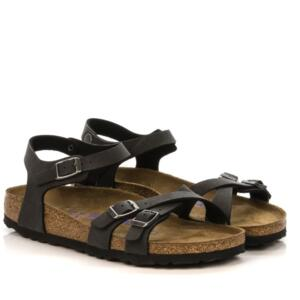 BIRKENSTOCK KUMBA WOMEN'S SANDALS SOFT FOOTBED BIRKO FLOR BRUSHED BLACK