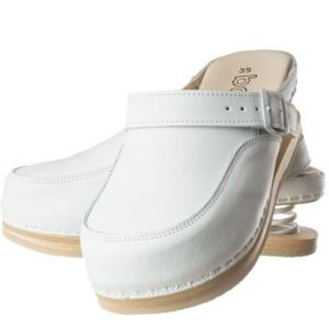 BALDO 12/98 WOMEN'S CLOGS SHOCK ABSORBER WHITE WOOD SOLE