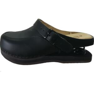 BALDO 12/98 WOMEN'S CLOGS SHOCK ABSORBER BLACK WOOD SOLE