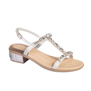 SCHOLL KLIO SYNJEW WOMEN'S SANDALS WITH BEEDS SILVER