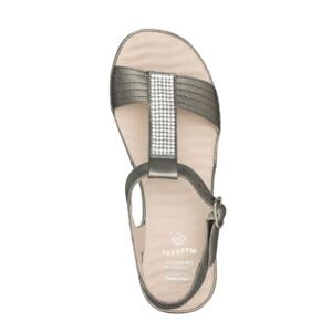 SCHOLL CATELYN WOMEN'S SANDALS WITH WEDGE HEEL AND STRASS PEWTER