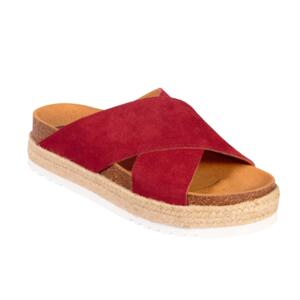 SCHOLL MALINDY CROSS SUE-W WOMEN'S FLIP FLOPS SUEDE RED