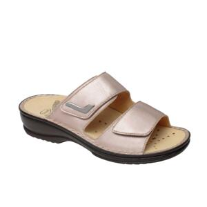 SCHOLL NEW MIETTA WOMEN'S FLIP FLOPS DOUBLE STRAP LEATHER BEIGE