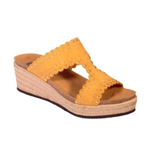 SCHOLL SHANNON SUE-W WOMEN'S SANDALS WEDGE HEEL STRASS OCHRE