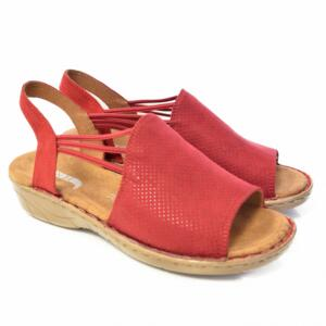JENNY BY ARA WOMEN'S SANDALS WITH ELASTIC CLOSURE RED