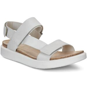 ECCO CORKSPHERE WOMEN'S SANDALS THREE STRAPS LEATHER WHITE GREYWOLF