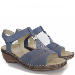 ARA WOMEN'S COMFY SANDALS WEDGE HEEL WITH STRASS REAL LEATHER JEANS