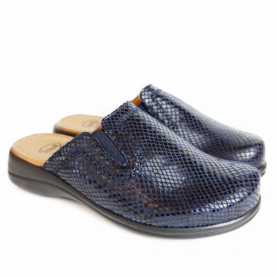 DR.SCHOLL NEW TOFFEE SLIPPERS BLUE WITH REPTIL PATTERN AND MEMORY FOOTBED