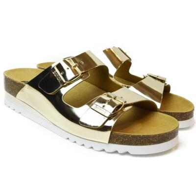 DR. SCHOLL WOMEN'S FLIP FLOPS WITH WEDGE HEEL GLAM SS 2 GOLD