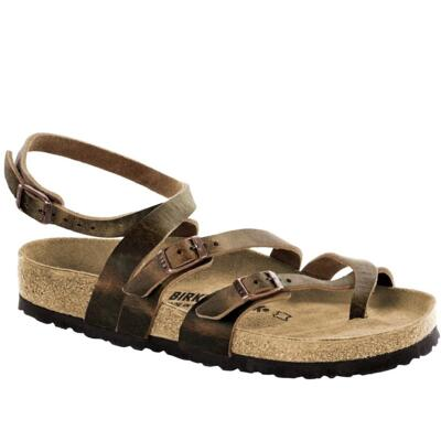 BIRKENSTOCK SERES CAMBERRA OLD TABACCO CROSSED LEATHER BROWN WOMEN'S ANKLE SANDALS