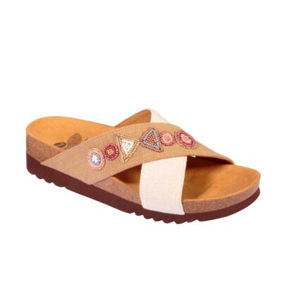 SCHOLL CANVBEADS-W WOMEN'S FLIP FLOPS WITH BEEDS WHITE