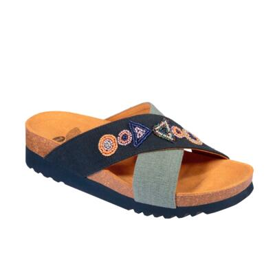 SCHOLL CANVBEADS-W WOMEN'S FLIP FLOPS WITH BEEDS NAVY BLUE