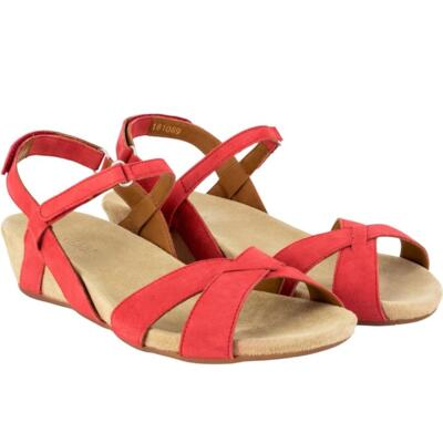 BENVADO VIOLA WOMEN'S SANDALS REAL LEATHER RED