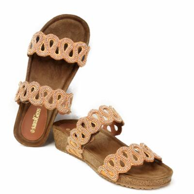 SANAGENS WOMEN'S FLIP FLOPS DOUBLE BAND WITH BEADS AND SOFT CORK'S INSOLE