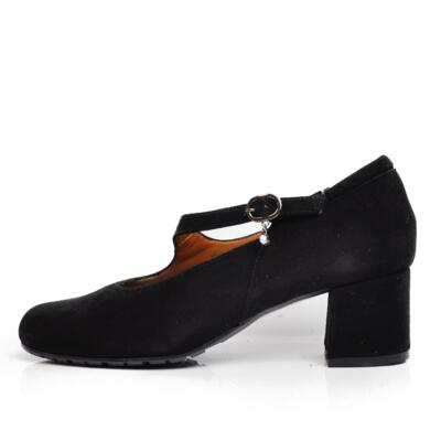 VALE WOMEN'S DECOLLETE CROSSED BAND SUEDE LEATHER BLACK