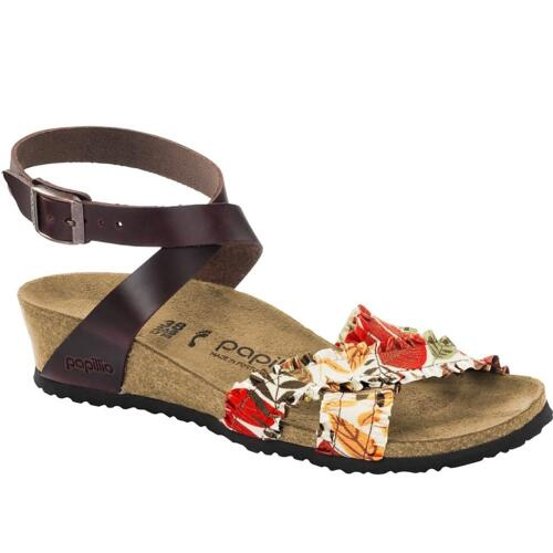 PAPILLIO WOMAN'S FLOREAL SANDALS WITH WEDGE HEEL PULL UP LEATHER LOLA DARK BROWN