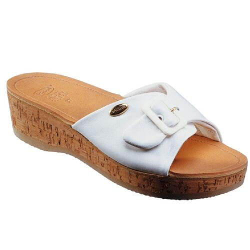 DR. SCHOLL WOMEN'S CLOG WEDGE HEEL IN REAL CORK WAPPY WHITE