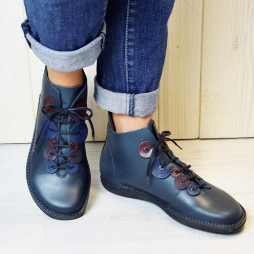 LOINTS OF HOLLAND WOMEN'S SHOES WITH LACES NATURAL PETROL  NATURAL LEATHER