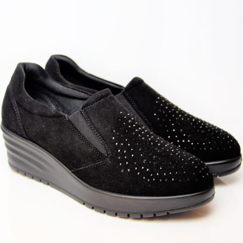 ENVAL SOFT WOMEN'S  COMFORTABLE SHOES BLACK SUEDE LEATHER WITH STRASS