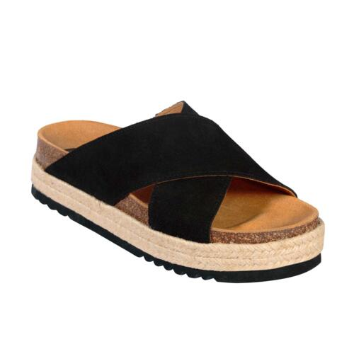 SCHOLL MALINDY CROSS SUE-W WOMEN'S FLIP FLOPS SUEDE BLACK