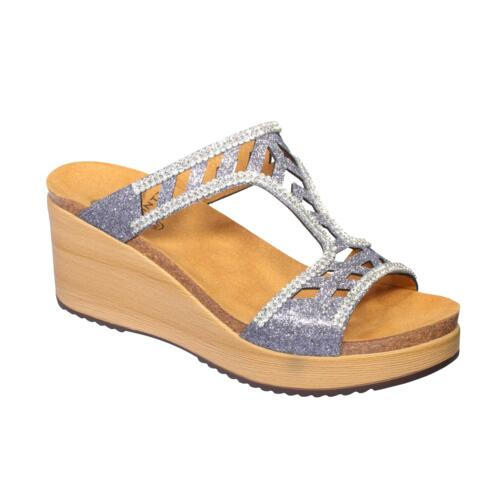 SCHOLL ELETTRA WOMEN'S SANDALS WEDGE HEEL PAILLETTES SILVER