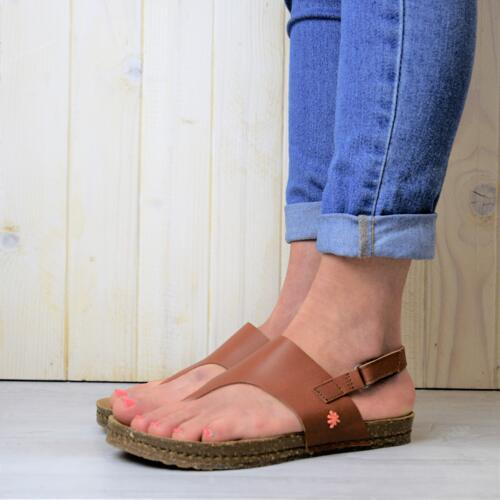 ART WOMEN'S THONGUE SANDALS REAL LEATHER CUOIO