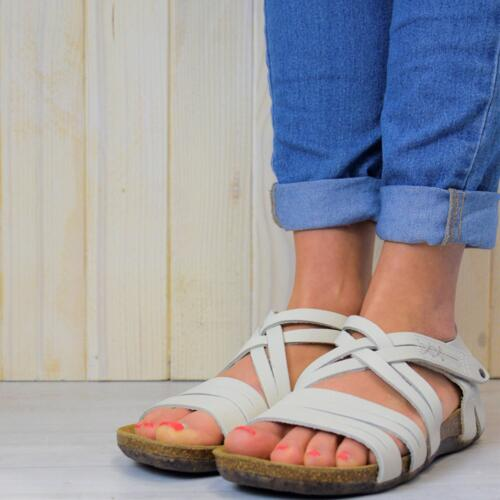 LOINTS OF HOLLAND FLORIDA WOMEN'S CROSSED SANDALS  STRAPS OFF WHITE