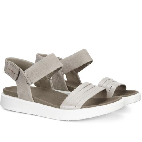 ECCO FLOWT WOMEN'S SANDALS DOUBLE STRAP LEATHER SILVER WARM GREY