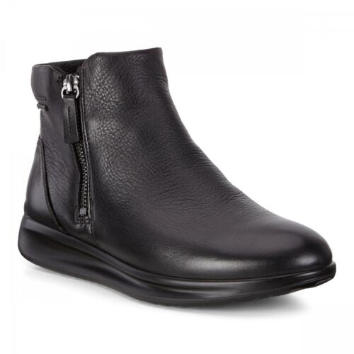 ECCO AQUET WOMEN'S ANKLE BOOTS ZIP CLOSURE LEATHER BLACK