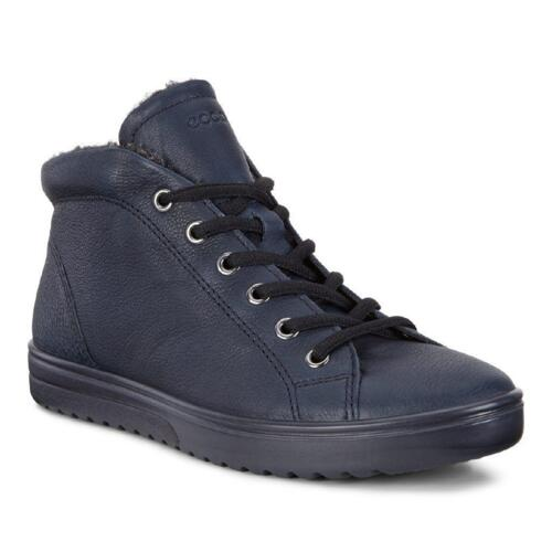 ECCO FARA WOMEN'S SNEAKERS LACES BUE LEATHER WITH FUR