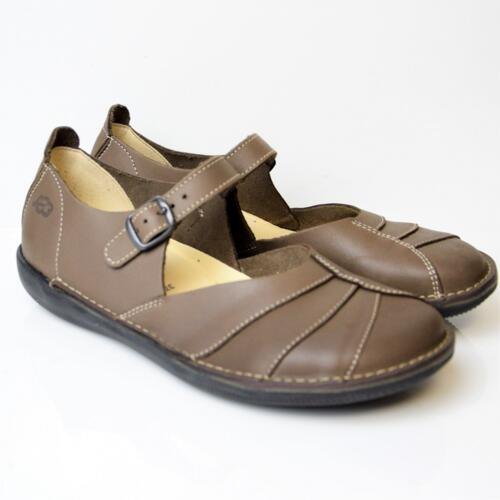 LOINTS OF HOLLAND WOMEN'S FLAT SHOES ANKLE STRAP LEATHER MUD