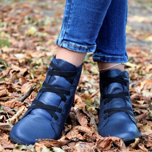 LOINTS OF HOLLAND WOMEN'S BOOTS CROSSED LACES LEATHER BLUE
