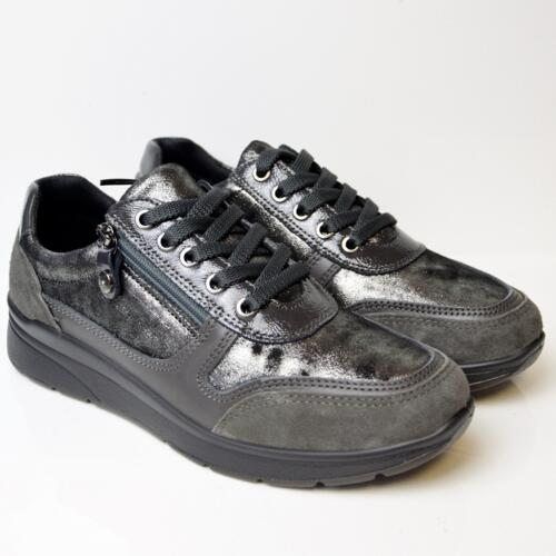 ENVAL SOFT WOMEN' SNEAKERS WITH LACES AND GLITTERS ANTHRACITE
