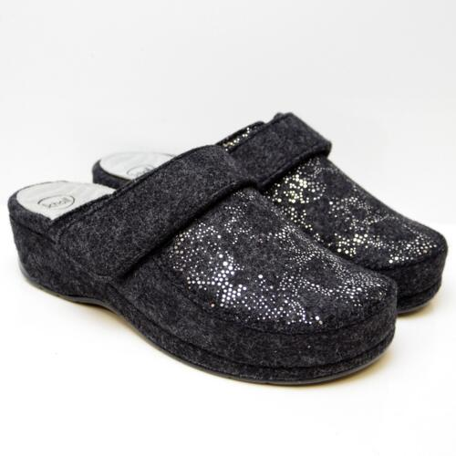 DR. SCHOLL WOMEN'S SLIPPERS ALPHA TAURI WOOL AND STRASS GRAPHITE