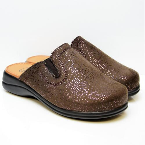DR. SCHOLL NEW TOFFEE WOMEN'S SLIPPERS LEATHER BROWN MEMORY FOOTBED