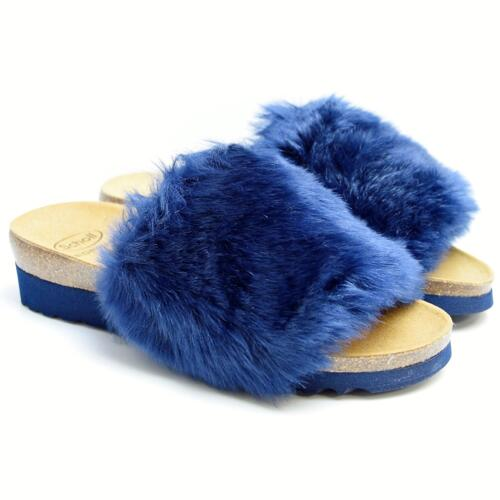 DR. SCHOLL WILLOW WOMEN'S SLIPPERS WITH FUR BIOPRINT FOOTBED NAVY BLUE